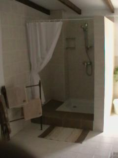 Spacious shower - bathroom towels included