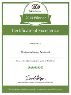 Trip Advisor - Certificate of Excellence - 2014 Winner (as rated for by our guests)
