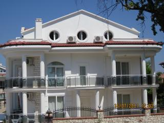 Apartment end view showing balconies - top 2 floors