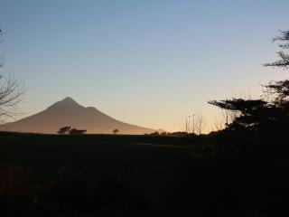 This is an actual view of Mount Taranaki is from the gardens