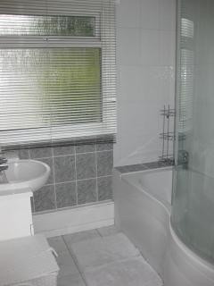 bathroom, with bath and shower over