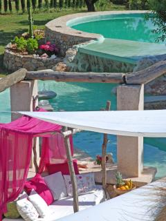 double level pool with water fall and coach