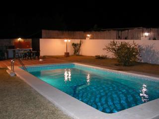 At night the swimming pool