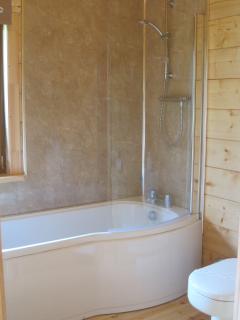 Sparkling bathroom with shower over bath.