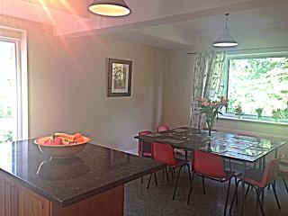 The sun floods into the spacious well equipped kitchen/diner and you can eat outside on the patio