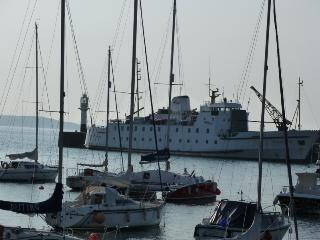 The Scillonian boat taking visitors from Penzance to The Isles of Scilly