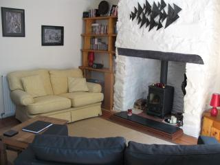Homely and cosy lounge ,wood burner and seating for 5 persons as well as 2 bean bags for the kid
