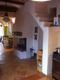 Fireplace in the kitchen area