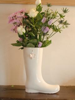 Wellies are everywhere on a farm! and very useful!  Sweet smelling roses.