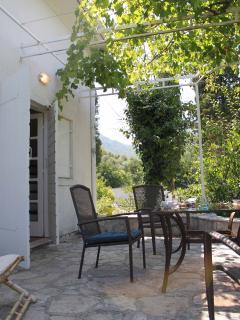 Terrace facing garden and sea