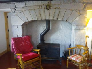 Living area with woodburning stove set in cut stone fireplace