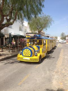 The Wally Train travels all over Albufeira. To Oura Beach,The Strip,The Old Town.Etc.