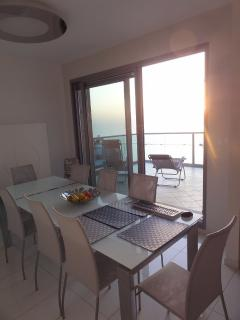 Dining area with view to sea