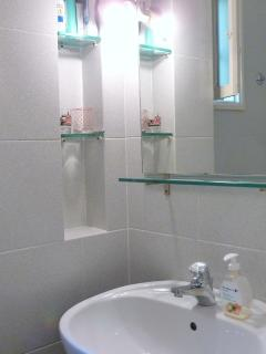 the small bathroom on the first floor, near by the bedrooms