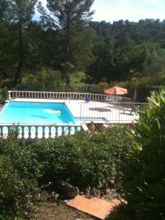 You can view the pool from the terrace with a glass of rose from the local vineyard