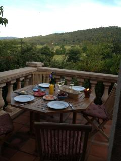 Dining 'al fresco' with beautiful views over the countryside