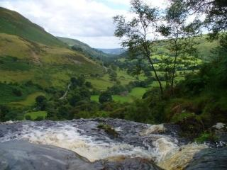 The view from the top of the 240 ft Pistyll Rhaeadr Waterfall 2 miles from Riverside Retreat