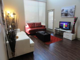 Spacious living room with furnitures