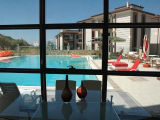 Homes have large picture windows overlooking to pools or with sea views