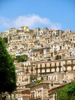 View of Modica Alta (note: we are NOT t the top of that hill!)