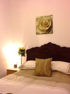 Olive House gold bedroom