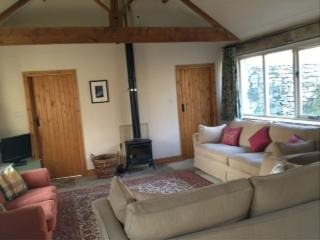 Large comfortable sofas and log burning stove in the open plan lounge