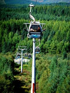 Gondola at Nevis range ski and hillwalkingmountain bike centre. This is the worl championship course