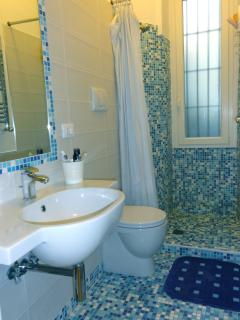 The bathroom with a large shower
