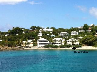 THREE PALMS ST JOHN WATEFRONT VILLA WALKING DISTANCE TO CRUZ BAY.