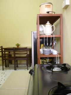 Kitchen equipped with brand new amenities