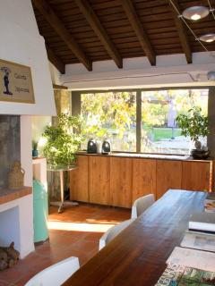 Space for coffee, BBQ, Large table with turist info