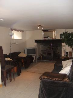 Basement with very nice living area with TV and logburner