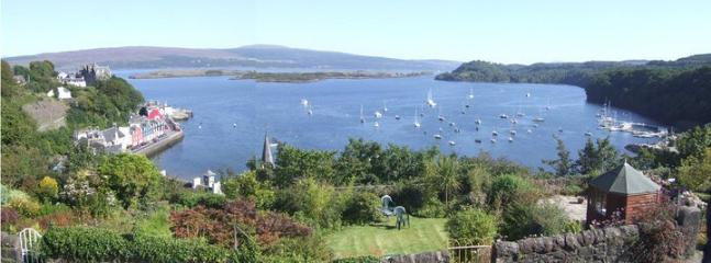 View of the garden and Tobermory bay from Aisling cottage