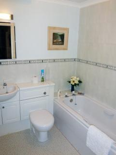 Main bathroom with full bath and overhead shower