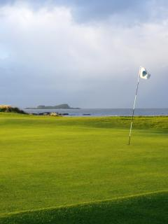 1st green and Fidra Island - windy day!