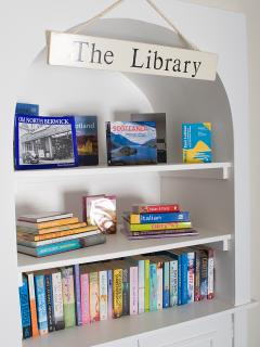 'The Library' complete with books and wide selection of board games in the lounge