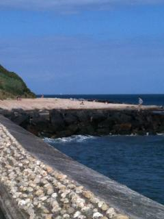 Sea wall and beach at Monk's Bay, a 5 minute stroll downhill from the house, past the C11th church
