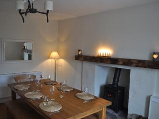 Dining room with wood burning stove