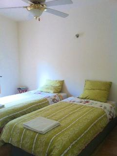 Spacious twin room, fan for high temperatures and heater for cooler times.