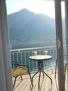 Breakfast on the front patio with amazing view of Kotor Bay