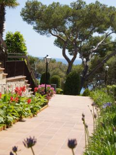 beautiful gardens - pathways/steps leading down to beach,harbour and restuarants