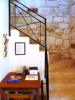 Stairway to the spacious living room, balconies, twin bedroom  and one of the bathrooms