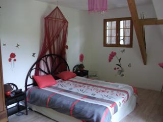 Grande chambre, 3 personnes, 24 m² porte fenêtre avec balcon.