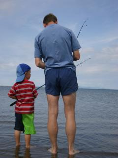 ...the adjacent beach is perfect for fishing, (nearby local fresh-water pond and river fishing)