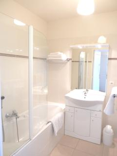 Bathroom with Shower and Vanity Unit
