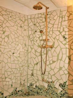 Handmade seaglass mosaic shower