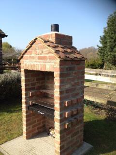 Brick barbecue in garden