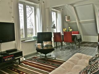 Spacious living with great view over the canal