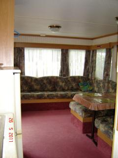 The lounge area 3 bedroom mobile home caravan domaine de kerlann Brittany