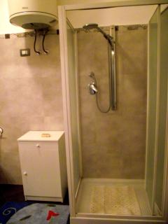 this is a big shower. in the bath room